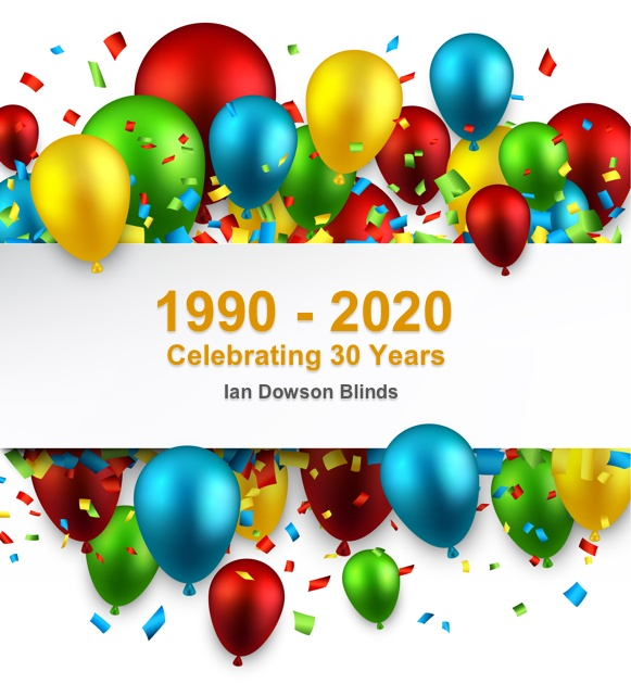 Celebrating 30 years supplying blinds throughout Staffordshire, Shropshire and the West Midlands 1990 - 2020