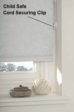 Child Window Blind Safety - Cord Securing Clip on Roller Blind