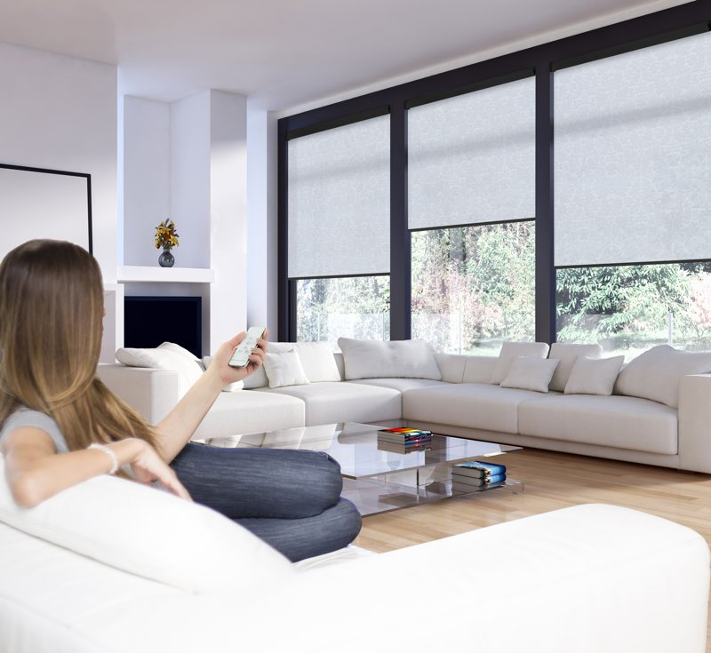 Powershade Blinds in living room with remote