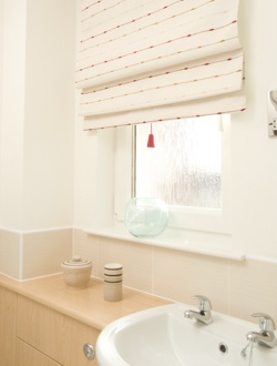 Roman Window Blind in Bathroom Setting